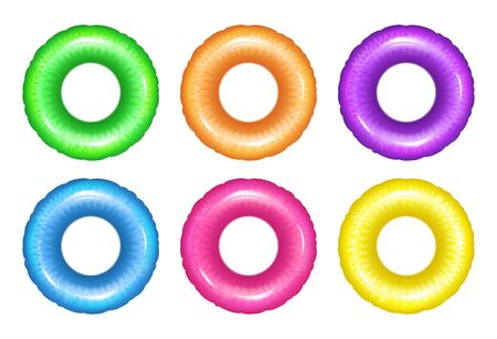 Vector realistic rubber ring isolated on white. Swim ring of six different colors, set.