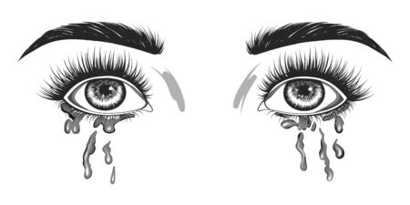 Hand-drawn black and white eyes. The woman is crying.
