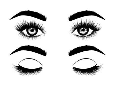 Modeillustration. Handgezeichnetes Schwarz-Weiß-Bild von schönen offenen und geschlossenen Augen mit Augenbrauen und langen Wimpern.