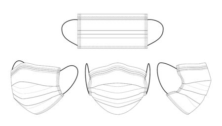 Black and white hand-drawn medical mask.