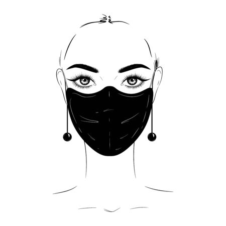 Hand-drawn fashion illustration. Beautiful woman in black medical mask.