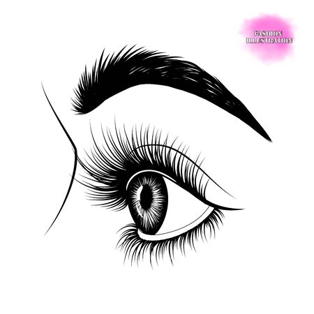 Fashion illustration. Black and white hand-drawn image of beautiful eye in profile with eyebrows and long eyelashes.