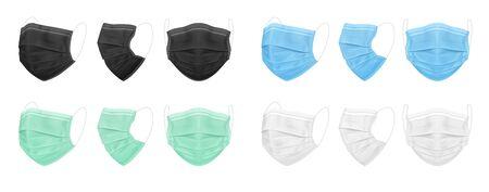 Medical face mask, blue, black, white, green. Set of isolated masks for the doctor or nurse. Protection against coronavirus, virus, dust, dirty air. Vector eps 10 Stock Illustratie