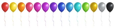 Balloon, different colors, big realistic set. Vector EPS 10.