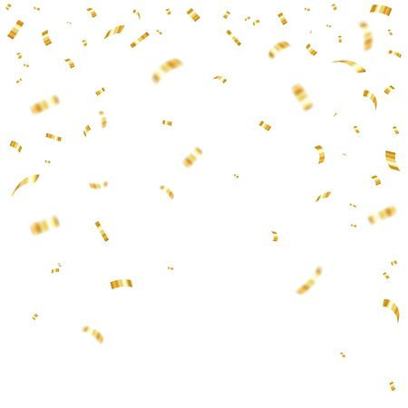 Golden falling confetti. Festive illustration of a shiny flying mush. Vector EPS 10. Stock Illustratie