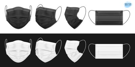 Medical face mask, black and white. Set of isolated masks for the doctor or nurse. Protection against coronavirus, virus, dust, dirty air. Vector eps 10 Stock Illustratie