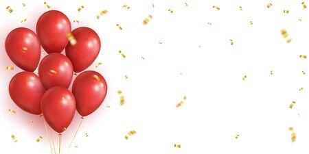 Rectangular Festive Background. Red realistic balloons, golden falling confetti. Vector eps 10 Stock Illustratie