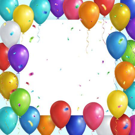Square festive background. Multicolored realistic balloons and falling confetti. Vector eps 10 Stock Illustratie