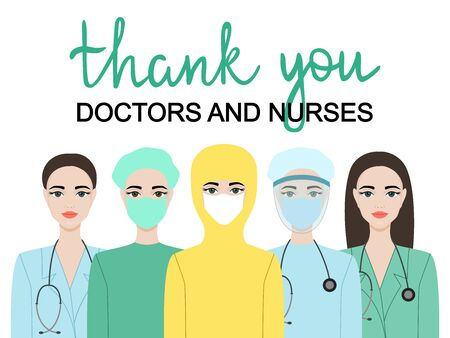 Thank you doctors and nurses. Medical team in protective suit and medical mask. Vector eps 10