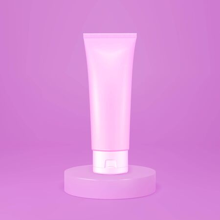 Vector realistic image (mock up, layout) of packaging for cosmetics. Stand, round podium, stage in a studio.