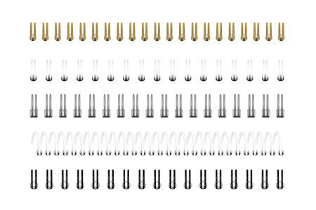 Vector set of realistic images (layout, mockup) of silver, gold, black and white spirals for notebook, calendar, drawing album. Top view.