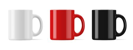 Vector realistic mockup (template, layout) of a mug for drinks front view. White, black, red blank isolated cup. Stock Illustratie