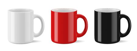Vector realistic mockup (template, layout) of a mug for drinks perspective view. White, black, red blank isolated cup.