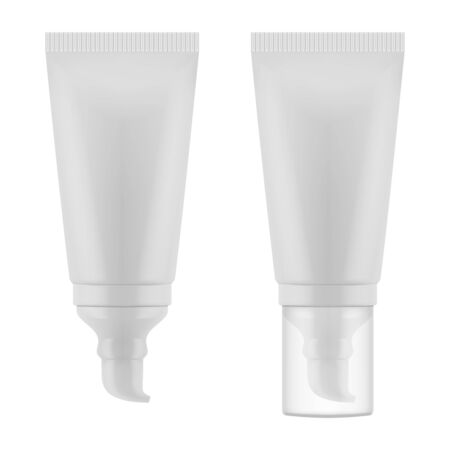 Vector realistic isolated plastic packaging for cosmetics (mockup, mockup). Tube for cream with a dispenser and transparent cap. Stock Illustratie