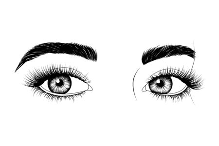 Black and white hand-drawn eyes with eyebrows and long eyelashes. Fashion illustration.