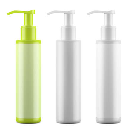 Plastic blank glossy bottle with dispenser. Mockup packaging for cosmetics. Vector EPS 10.