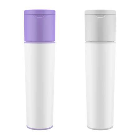 Realistic packaging for cosmetics. Shampoo, shower gel matte bottle mockup. Vector eps 10 Stock Illustratie