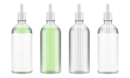 Vector glass bottle with a pipette for serum or other liquid. Transparent packaging for cosmetics. EPS 10 Stock Illustratie