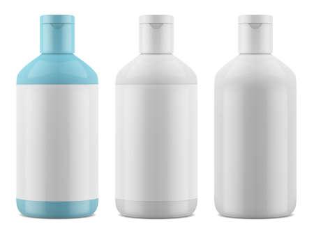 Realistic packaging for cosmetics. Shampoo, shower gel glossy bottle mockup. Vector EPS 10 Stock Illustratie