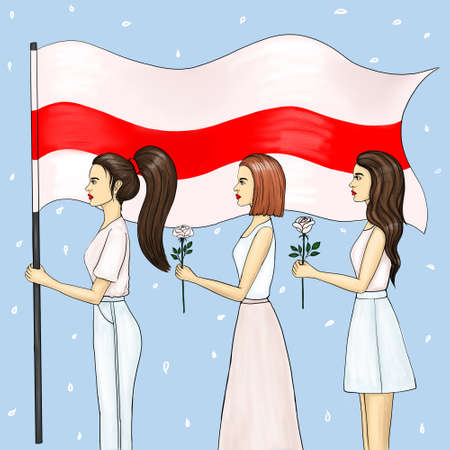 Three women with a red-white flag and white flowers in their hands. Peaceful protest in Belarus.
