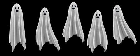 Ghost on a black background. An evil spirit with a covered sheet. Scary face Vector