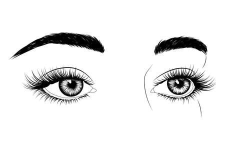 Fashion illustration. Black and white hand-drawn image of eyes with eyebrows and long eyelashes.