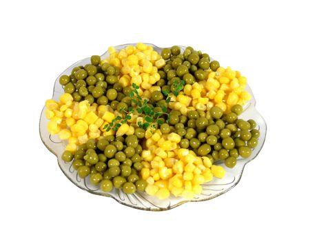 Green pea, yellow corn and corn lettuce photo
