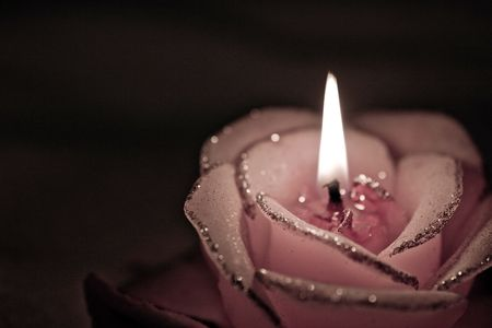 Burning candle in the form of roses in darkness. photo