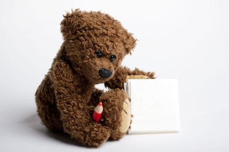 Bear Teddy with a pen and paper for messages. Stock Photo - 6166996