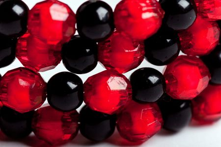 Red and black facet beads. photo