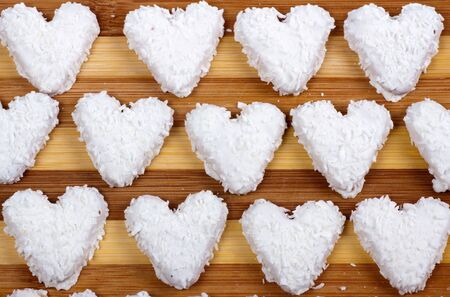 Coconut cookies in the form of heart. Stock Photo - 6871525