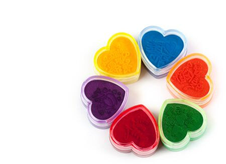 Stamp the press in shape heart colour. photo