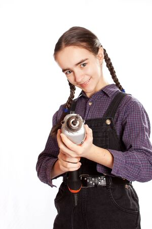 LIttle master girl with drill photo