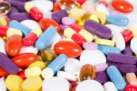 Pills and capsules of many shapes and colors Stok Fotoğraf