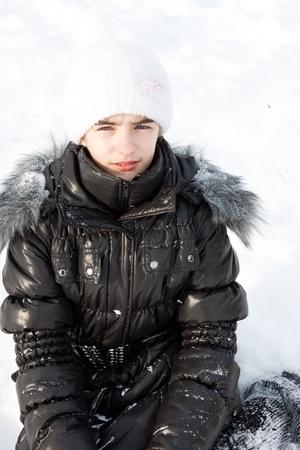 girl on white snow photo