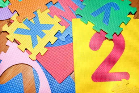 color parts of Puzzle are scattered on the floor Stock Photo - 12574792
