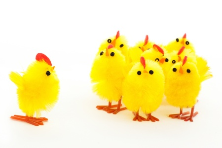 group of easter toys of chickens and one leader Stock Photo - 12857779