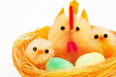 easter toys chickens and hen in a nest Stock Photo - 12857923
