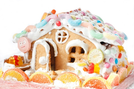 gingery cake house with candies