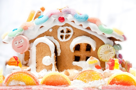 gingery cake house with candies Stock Photo - 13105442