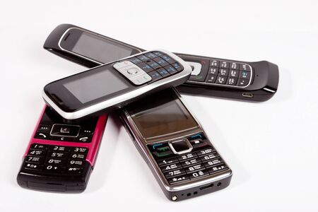 four mobile cellular phone close up Stock Photo - 13105354