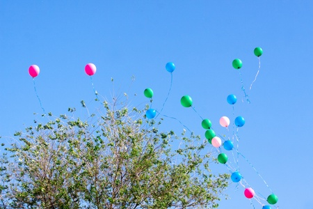 releasing: balloons departing to the sky
