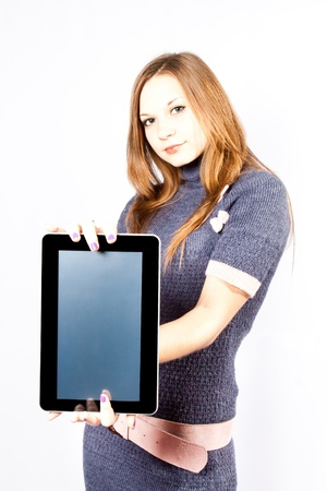 businesswoman holds like gadget photo