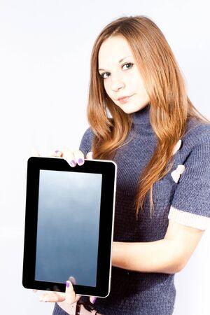 businesswoman holds like gadget photo