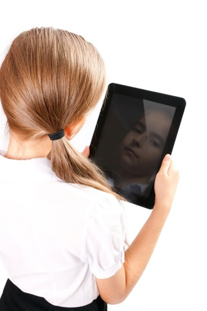 back screen: Girl with gadget isolated white background