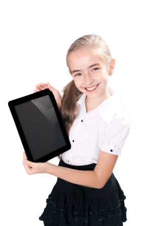 Girl with gadget isolated white background photo