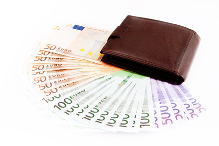 leather wallets and European Currency, euro   50, 100, 500