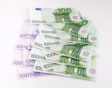 European Currency, 100 and 500 euro Stock Photo
