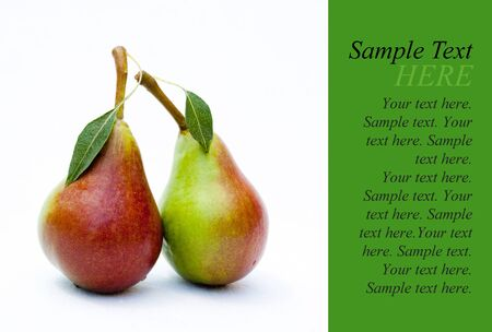 a stem here: Two pears, green with the Leaf