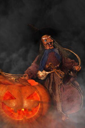 hollows: Halloween lantern pumpkin and witch